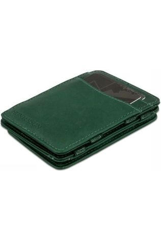 Hunterson Portefeuille Leather RFID Magic Coin Wallet Donkergroen
