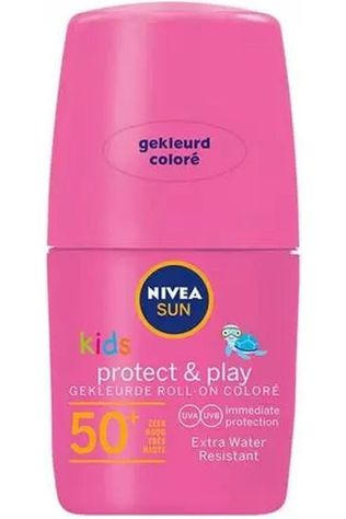 Nivea Zonnebescherming SPF50+ 50Ml Kids Coloured Roll On Pink Geen kleur