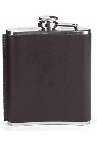 Kikkerland Gadget Medium Leather Hip Flask dark brown/silver