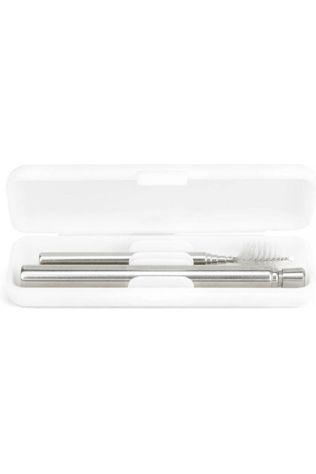 Kikkerland Gadget Travel Straw Set Argent