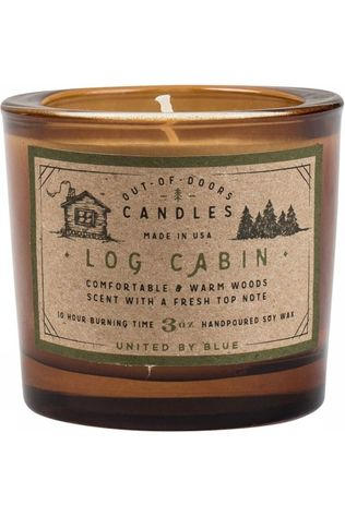 United by Blue Gadget Log Cabin Out Of Doors Candle 3Oz mid brown