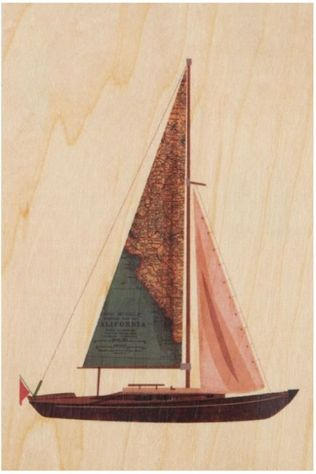 Woodhi Gadget Postcard Boat Brun Clair/Assorti / Mixte