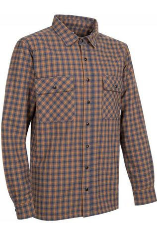 Ayacucho Shirt Flannel Padded Dark Grey/Camel Brown