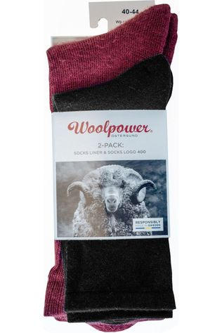 Woolpower Socks 2-Pack Sock Liner And Logo 400gr Black/Bordeaux / Maroon
