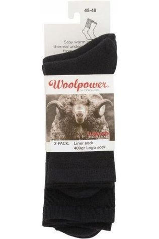 Woolpower Kousen 2-Pack Sock Liner And Logo 400gr Zwart