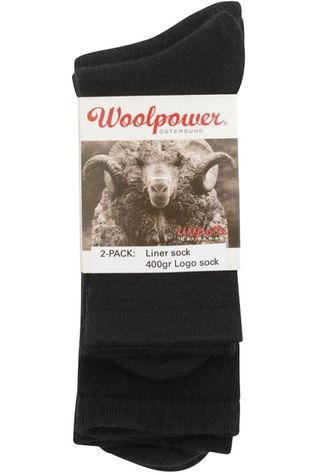 Woolpower Socks 2-Pack Sock Liner And Logo 400gr black