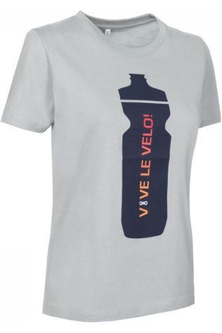 Vive le Velo T-Shirt Drink Bottle Femmes Gris Clair