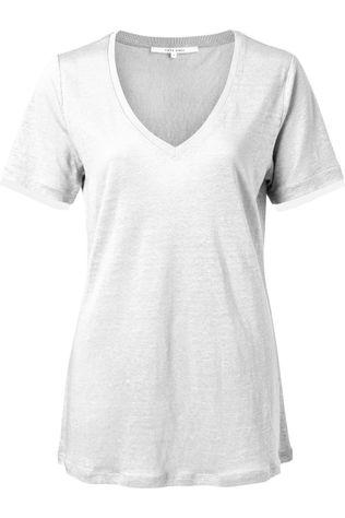 Yaya T-Shirt V-Neck With Woven Cuffs Gebroken Wit