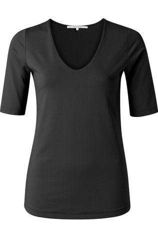 Yaya T-Shirt Round V-Neck With Half Sleeves Zwart