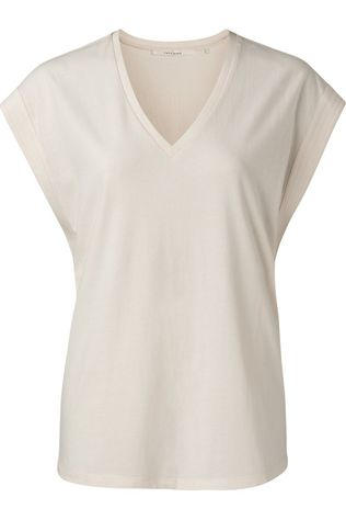 Yaya T-Shirt V-Neck With Stitch Details At Sleeves Ivoor