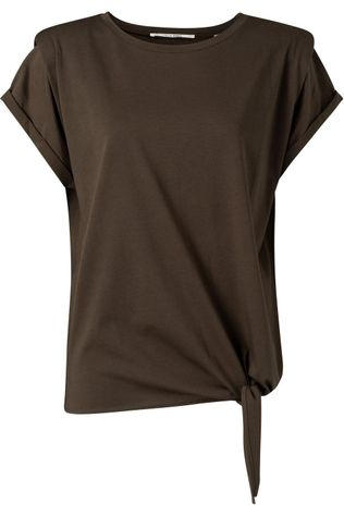 Yaya T-Shirt With Shoulder Detail And Knot At Front Donkerbruin