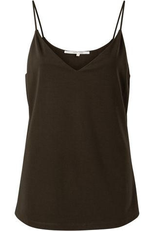 Yaya T-Shirt Lyocell Fabric Mix Cami Donkerbruin