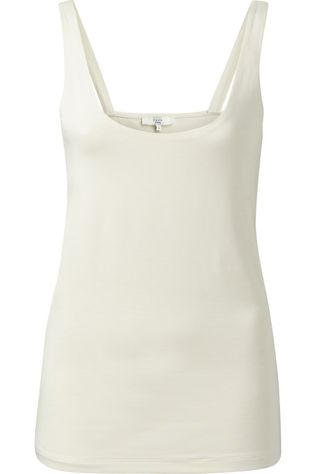 Yaya T-Shirt Double Layer Singlet With Round Neck Ecru