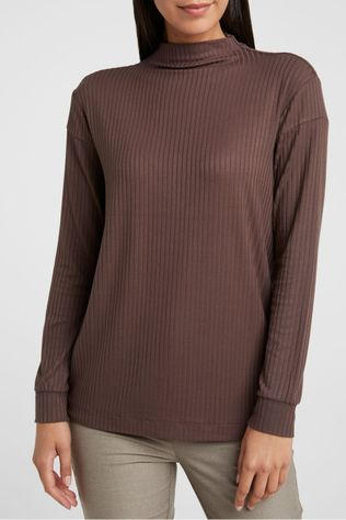 Yaya Sous-Pull Rib High Neck Top With Seam Details At Shoulder Brun Foncé