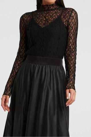 Yaya Souspull Lace High Neck Zwart