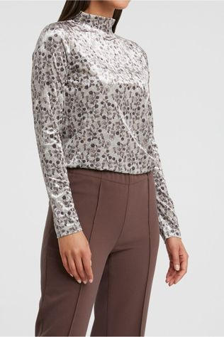 Yaya Sous-Pull Soft Velvet High Neck Top With Floral Print Brun Sable/Ass. Fleur