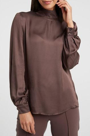 Yaya Blouse Shiny High Shaped Neck Donkerbruin