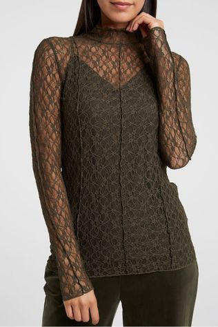 Yaya Blouse Lace High Neck Donkergroen
