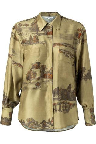 Yaya Hemd Silk Blend With Concealed Buttons And Pockets Lichtkaki/Donkerbruin