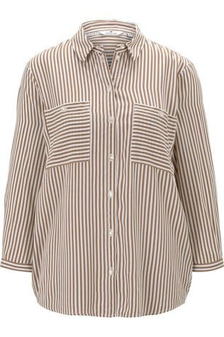 Tom Tailor Shirt 1021098 Off White/Camel Brown