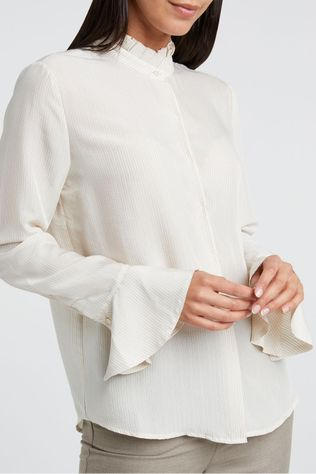 Yaya Hemd Blouse With Ruffled Neck And Flared Cuffs Lichtroze