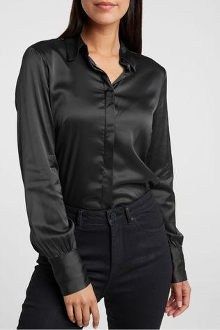 Yaya Hemd Satin Stretch Shirt With Detailed Cuffs Zwart