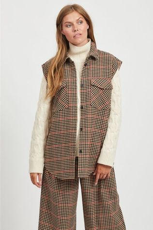 Object Blazer hollis Waistcoat Sand Brown/Red