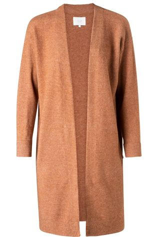 Yaya Cardigan Long With Side Pockets Marron Chameau