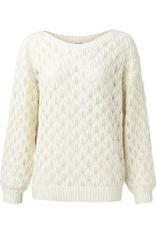 Yaya Trui Pointelle Knitted Boatneck Line With Long Sleeves Ecru