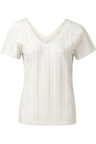 Yaya Trui Wide Rib Structured With Cap Sleeves And Vneck Wit