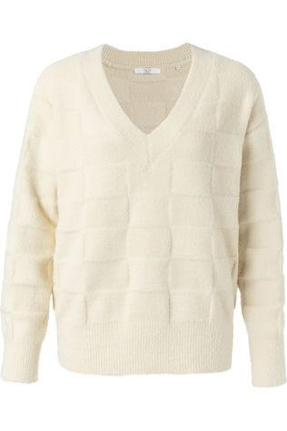 Yaya Trui Structure Knitted V-Neck Gebroken Wit