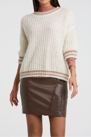 Yaya Pull Fluffy Open Knitted Boxy Sweater With Contrast Stripes Blanc Cassé