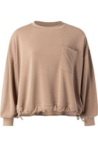 Yaya Trui Modal Blend Sweatshirt With Pocket And Drawstring Taupe