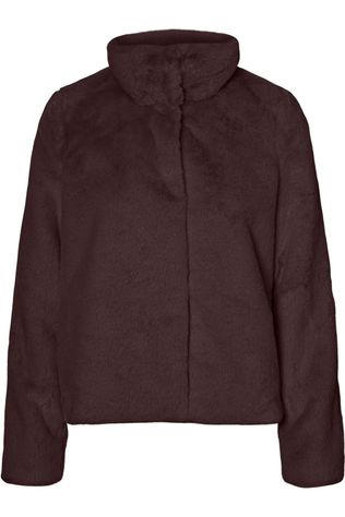 Vero Moda Coat thea Short Faux Fur Col dark brown