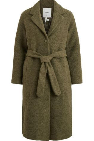 Object Coat robina Long mid khaki