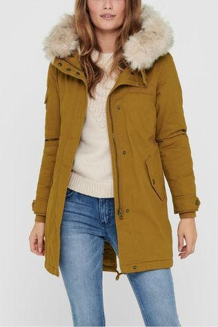 Only Coat may Life Fur Canvas Parka Camel Brown