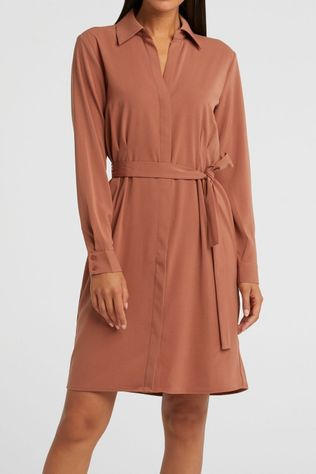 Yaya Jurk Belted Button Up Midi Middenroze