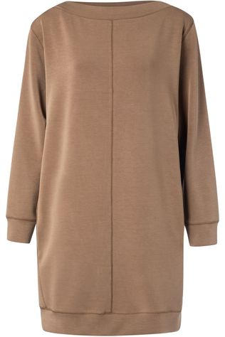 Yaya Robe Modal Blend With Contrast Stitching Brun Foncé