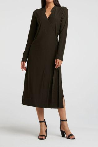 Yaya Jurk Jersey A-Line Wrap Dress With V-Neck Donkergroen