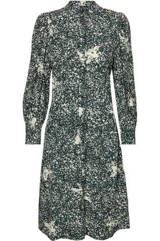 Vero Moda Dress madison L/S Short Vip dark green/off white