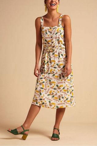 King Louie Dress Chrissie Button Punch white/mid yellow