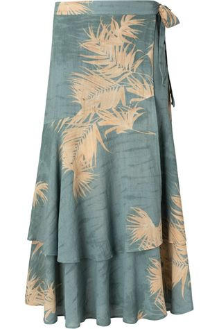 Yaya Jupe Printed Midi With Faux Wrap Effect Bleu Pétrole/Ecru