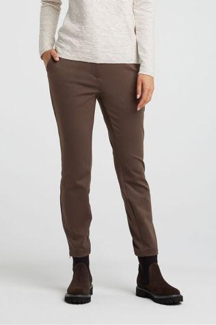 Yaya Broek Jersey Stretch Tailored Trousers With Satin Waistband Donkerbruin