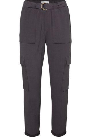 Yaya Broek Belted Cargo Jogger Pants With Folded Hems Donkergrijs