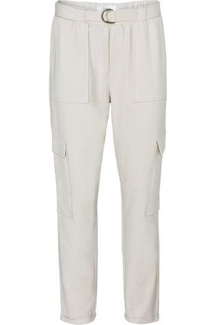 Yaya Broek Belted Cargo Jogger Pants With Folded Hems Lichtgrijs