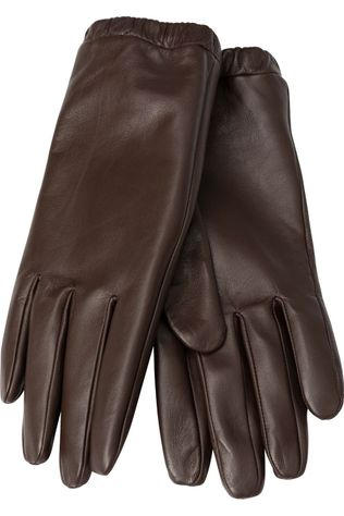 Yaya Handschoen Leather Bordeaux / Kastanjebruin