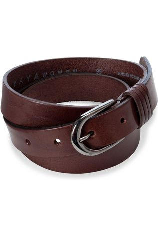 Yaya Riem Basic Leather Belt Middenbruin