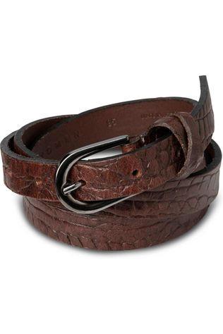Yaya Riem Leather Belt With Crocodile Print Donkerbruin