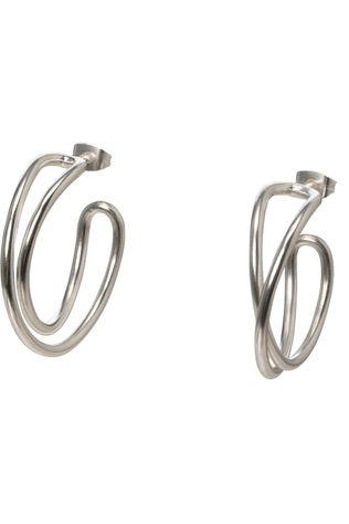 Yaya Oorbel Twisted Hoop Earrings Zilver