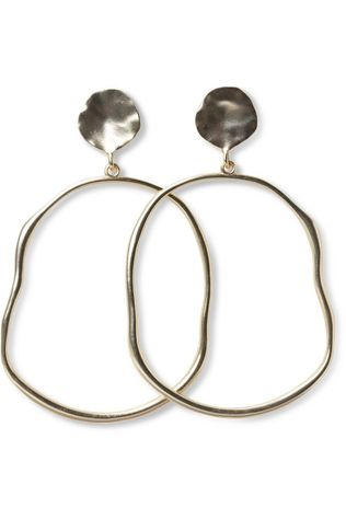 Yaya Oorbel Oval Hoop Earrings With Hammered Look Goud